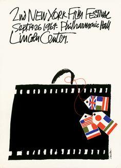 1964 New York Film Festival Poster by Saul Bass Saul Bass, Vintage Advertising Posters, Vintage Advertisements, Vintage Posters, Advertising Design, Vintage Ads, Festival Posters, Film Festival, Montreux Jazz Festival