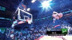 The New York Knicks' James 'Flight' White took off from just inside the free-throw line and threw down a two-handed jam.