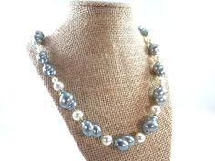 Blue Conch Shell Pearl Necklace Vintage by RusticWayTreasures