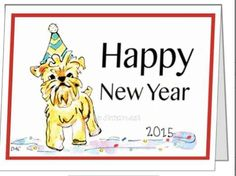 Dog in Hat Happy New Year Cards  6 pack by BayLifeStore on Etsy