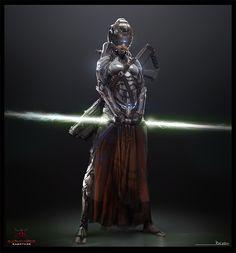 """Raiza Sci-Fi Samurai"" character by Hakeem Rafai for the board game Dark Sabotage. Character Inspiration, Character Art, Character Design, Character Concept, Character Reference, Rpg Star Wars, Sci Fi Armor, Futuristic Art, Sci Fi Characters"