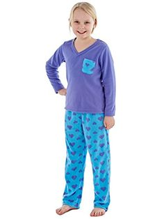 74fe943f40 Girls Rosie Warm Micro Polar Fleece V Neck Pyjama Aqua 13y. Polar Fleece
