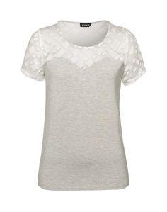 Kookai T Shirt im Materialmix
