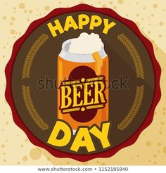 Promotional round label with delicious frothy beer in a can and greeting to celebrate Beer Day in flat style and long shadow. Beer Day, Round Labels, Long Shadow, Flat Style, Promotion, Royalty Free Stock Photos, Canning, Circle Labels, Home Canning