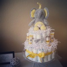 S & J's Gray & Yellow Gender Neutral Baby Shower by Apogee Events // Elephant Diaper Cake.