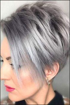 kurzhaarfrisuren 2018 damen grau haarfarbe #kurzhaarfrisuren ... | Einfache Frisuren