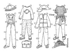 Karen`s Paper Dolls: Tine 1-3 Paper Doll to Colour. Tine 1-3 påklædningsdukke til at farvelægge.