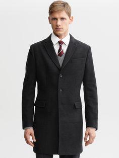 #BRAnnaK #BananaRepublic | Charcoal houndstooth wool coat