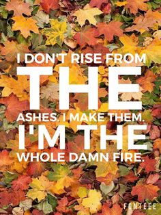 I don't rise from the ashes. I make them. I'm the whole damn fire.
