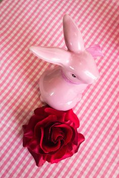 Pink Easter Bunny Art Print for sale. Red rose, pretty pink table decoration. Available as poster, framed print, metal, acrylic, wood or canvas print. Art for your Home Decor and Interior Design by Matthias Hauser.