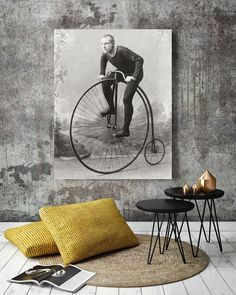 Antique photographs made into modern art: an 1891 portrait of a champion bicyclist has been carefully restored by Spectrachrome Fine Art Prints.