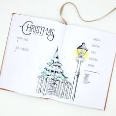 Bullet journal Christmas shopping list,  Holiday layout,  Christmas drawings,  Winter drawings.  @moenchens.planning