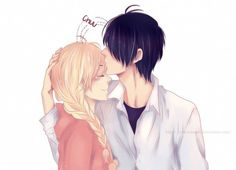 Imagem de anime, kiss, and nijiiro days Anime Couple Kiss, Manga Couple, Anime Kiss, Couple Cartoon, Anime Couples, Anime Manga, Cute Couples, Nijiiro Days, Fanart