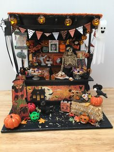 Dollhouse miniature Halloween market stall