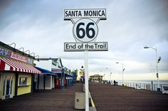A sign at the end of the Santa Monica Pier marks the end of the legendary American highway, symbolizing that this road only ended when the sea stood in its way.