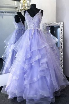Lavender Tulle V Neck Lace Dress Formal Prom Dress Pageant Dress Lace Prom Gown, Long Prom Gowns, Tulle Lace, Pageant Dresses, Dance Dresses, Ruffle Dress, Evening Dresses, Pink Tulle, Beaded Lace