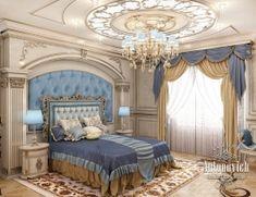 Villas Interior in Mohammed Bin Zayed City. The luxurious interior in classic style. Project design studio in Dubai Modern Luxury Bedroom, Luxury Bedroom Design, Master Bedroom Design, Luxurious Bedrooms, Luxury Interior, Interior Design, Bedroom Colors, Bedroom Decor, Royal Bedroom