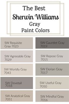 The Best Sherwin Williams Gray Paint Colors. With so many Sherwin Williams gray paint colors, how do you choose one? I went ahead and found the best of the best to share with you. Sherwin Williams Grey, Sherwin Williams Agreeable Gray, Sherwin Williams Sea Salt, Gauntlet Gray Sherwin Williams, Dovetail Sherwin Williams, Sherwin Williams Amazing Gray, Colonade Gray Sherwin Williams, Sherwin Williams Alpaca, Functional Gray Sherwin Williams