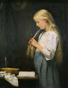 """""""Girl Braiding Her Hair"""", by Swiss artist - Albert Anker (1831-1910), Oil on canvas"""