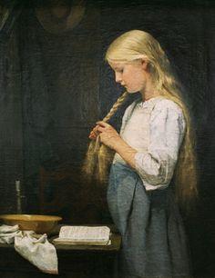 Albert Anker - Girl Braiding Her Hair