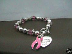 Silver with Pink/ Breast Cancer Bracelet | eBay