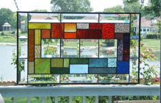 Beveled stained glass panel window geometric rainbow stained glass window panel modern window hanging abstract suncatcher rw4