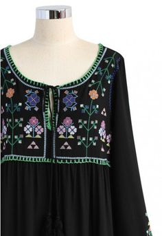 "Who says we're giving up floral maxis this fall? This embroidered dress screams ""boho chic"" and is just begging to be paired with a biker chic leather jacket and ankle booties.    - Cross-stitch floral embroidery - V-shape neckline with self-tie tasseled string - High waist design - Not lined - 65% Cotton, 35% Linen - Hand wash cold  Size(cm)  Length    Bust    Waist    Shoulder   Sleeves S              131        90       104           36           56 M             131        94       108…"
