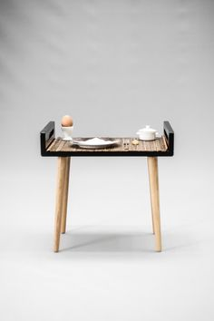 Stool / tray / bench made of black lacquered MDF by Habitables