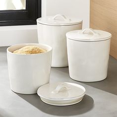 Marin White Ceramic Kitchen Canisters | Crate and Barrel
