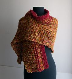 Hand Knit Shoulder Shawl Scarf Cowl Wrap Stylish Comfort Autumn Color Blend Red Trim by PeacefulPath