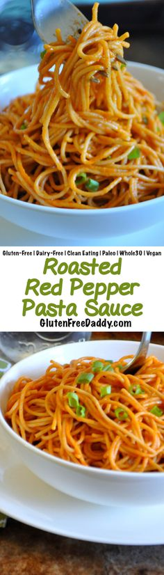 This roasted red pepper pasta sauce is full of deep, rich, creamy flavor, but only has 9 ingredients and is insanely healthy. Try it on your favorite pasta! {Gluten-Free, Clean Eating, Dairy-Free, Vegan, Paleo, Whole30}