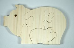 Pig Puzzle Wood Baby Pig Eco Friendly and Green for Toddlers and Children via Etsy. SO cute!