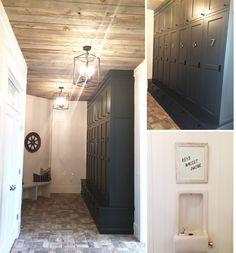 Mudroom with dark painted lockers and reclaimed wood ceiling | Utah Valley Parade of Homes 2015