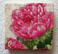Pink Peony Garden Encaustic, Shades of Pink and Green, Nature Art Mixed Media Beeswax Collage