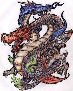 itattooz-chinese-dragon-with-two-heads-dragon-tattoo-design.jpg (1209×1494)