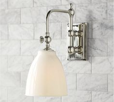 Covington Articulating Single Sconce | Pottery Barn Option for Squirty's bath if a lower center-of-fixture is preferred.
