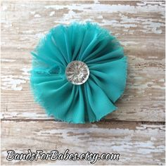 Teal Shabby Chiffon Flower Hair Clip, Teal Blue Alligator Clip, Hair Accessory, Etsy by BandsForBabes, $3.75
