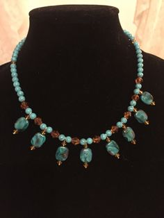 Turquoise necklace , brown necklace, turquoise and brown necklace, beaded necklace, handmade necklace, handmade jewelry, bridesmaid gift by PricesPretties on Etsy https://www.etsy.com/listing/490341632/turquoise-necklace-brown-necklace