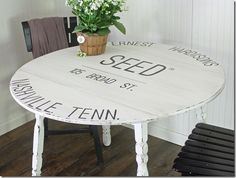 Cotton Seed Sack Inspired Painted Table via The Shabby Creek Cottage