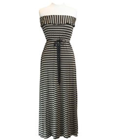 Taupe & Black Stripe Long Dress Tube Maxi with Tie & Ruffle www.daisyshoppe.com