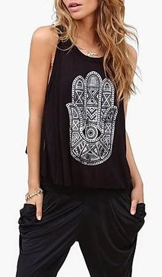Protection Hamsa Tank in Black ♥