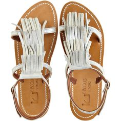 K.JACQUES Fringe Sandal (3.245 ARS) ❤ liked on Polyvore featuring shoes, sandals, flat sandals, flats, galaxy, gladiator sandals, suede fringe sandals, fringe gladiator sandals, ankle strap sandals and ankle wrap sandals