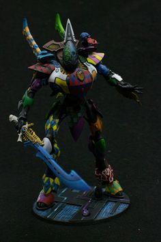 Eldar Wraith Lord in Harlequin style paint scheme. #FTW