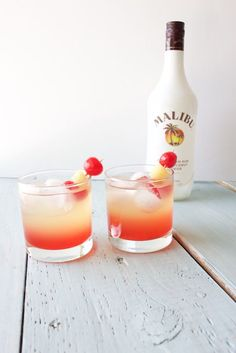 Malibu Sunset Cocktail Delicious and refreshing. This delicious drink offers a sweet blend of coconut rum, pineapple, and sweet grenadine. Great for a party, wedding or the beach!