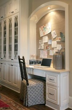 Kitchen office love the bulletin board.. Julie Couch Interiors.  shape of bulletin board