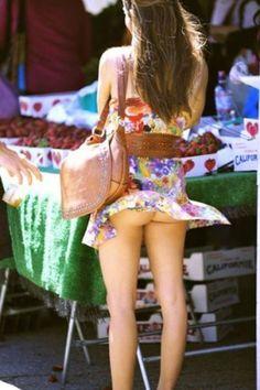 Blown skirt nude girl