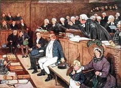 'The Pickwick Papers' by Charles Dickens ~ The trial of Mr. Pickwick - illustrated by Frank Reynolds. History Images, Art History, Charles Dickens Books, The Pickwick Papers, The Young Victoria, Most Famous Paintings, Oil Painting Reproductions, Classic Literature, Victorian Era