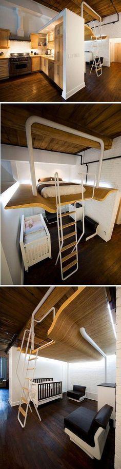 三口之家如果住在小户型中可以考虑这样的设...