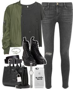 Outfit with grey jeans and a khaki bomber jacket by ferned featuring Yves Saint Laurent R13 short sleeve shirt, 170 AUD / Calvin Klein flight jacket, 285 AUD / Frame Denim stretch jeans / Dr. Martens black leather boots, 110 AUD / Yves Saint Laurent...