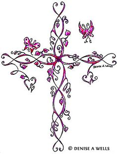Pink cross tattoo